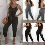 Casual Loose Solid Gray Black Jumpsuit
