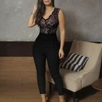 Jumpsuit Black Lace Patchwork V Neck Sleeveless