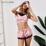 Pink Sleepwear Sexy Satin Silk Lace Top And Shorts