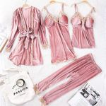 Set 4 Piece Sexy Lace Robe Top Pants Sleepwear