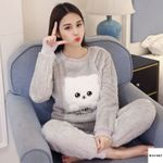 Warm Flannel Long Sleeve Cartoon Sleepwear