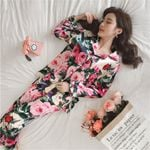 Pajamas Faux Silk Sleepwear 2 Piece Long Sleeves