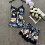 Satin Pajama Piece Set Sleepwear Floral Print