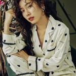 Sexy Lace Long Sleeve Heart Print Sleepwear