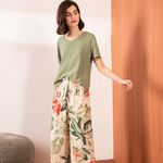 Floral Printed Ladies Pajamas Set Comfort Sleepwear