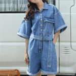 Leisure Bodysuit Denim Suits loose Playsuits Romper