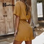Solid Short Sleeve Slim Waist Playsuits Rompers