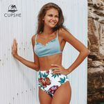 Sweet Blue and Floral High-Waisted Bikini
