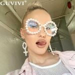 Pearl Cat Eye Elegant Oval Vintage Sunglasses