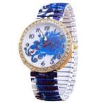 Elasticity Stainless Steel Strap Ladies Quartz Wristwatch