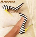 Yellow Heels Zebra Stripe Pattern Wedding Shoes