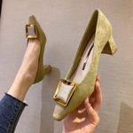fashion buckle with thick heel with shallow