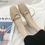 new gentle fairy style bow square flat beanie single shoes