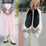 Rhinestone Butterfly Buckle Pointed Flat-bottom Evening Shoes