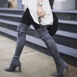 Thigh High Boots Fashion Suede Leather High Heels
