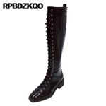 waterproof knee high ladies thick square toe boots