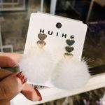 Silver Heart Furry Ball New Style Fashion Plush Earrings