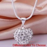fashion heart Silver Plated snake chain crystal Necklace