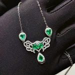 Colombian Natural Emerald Gemstone Pendant Necklace