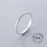 Sterling Silver Zircon Round Geometric Ring