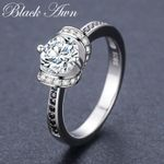 Sterling Silver Fine Jewelry Black Engagement Rings