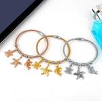Steel Cute Tortoise Starfish Dolphin Pendant Bracelets