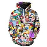 cartoon character long sleeve casual print hoodie