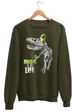 Wear Music Is My Life Green Sweatshirt