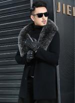 Fox Fur Collar Real Wool Coat Double-side