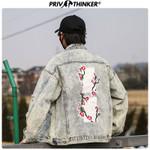 Peach Blossom Embroidery Denim Jackets
