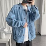 Ripped Jacket Fashion Washed Solid Color Casual