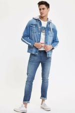 Blue Denim Jacket Casual Hooded Top Coats