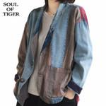 Ladies Loose Coats Vintage Patchwork Denim Jackets