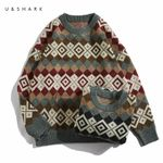 Folk Custom Rhombus Plaid Casual Sweater