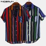 Shirt Striped Short Sleeve Casual Vintage Blouse Streetwear