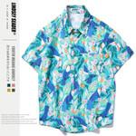 Hip Hop Streetwear Blue Leaf Print Hawaiian Shirt