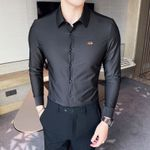 Solid Color Casual Slim Fit Long Sleeve Dress Shirts