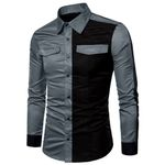 Shirt For Business Casual Patchwork Long Sleeve