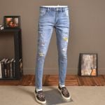 Light Blue Jeans Ripped Stretch Slim Fit