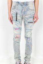 tie dye patchwork distressed blue jeans
