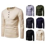 New Style Fashion Henry Collar Long-sleeved T-shirt