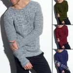 Christmas Striped Sweaters Casual Standard Pullovers