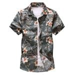 Collar Flower Printed Loose Fit Short sleeved Shirt