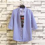 Three-quarter-length Sleeve Ruffian Handsome Shirt Short