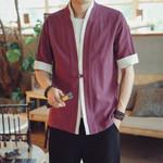 Thin Section Short Sleeve Cardigan Costume Shirt