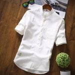 Trend Loose-Fit Stand Collar Long Sleeve White Shirt