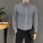 Striped Cotton Long Sleeve Dress Shirts