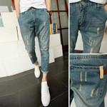 Slim Fit Capri Pants Skinny Ripped Jeans Fashion