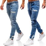 Jean Fabric Casual Dull Polish Zipper Design Sports Jeans