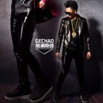 fashion slim Hair Stylist Patent leather PU leather pants